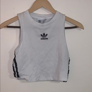 Adidas cropped white tank top with three stripes